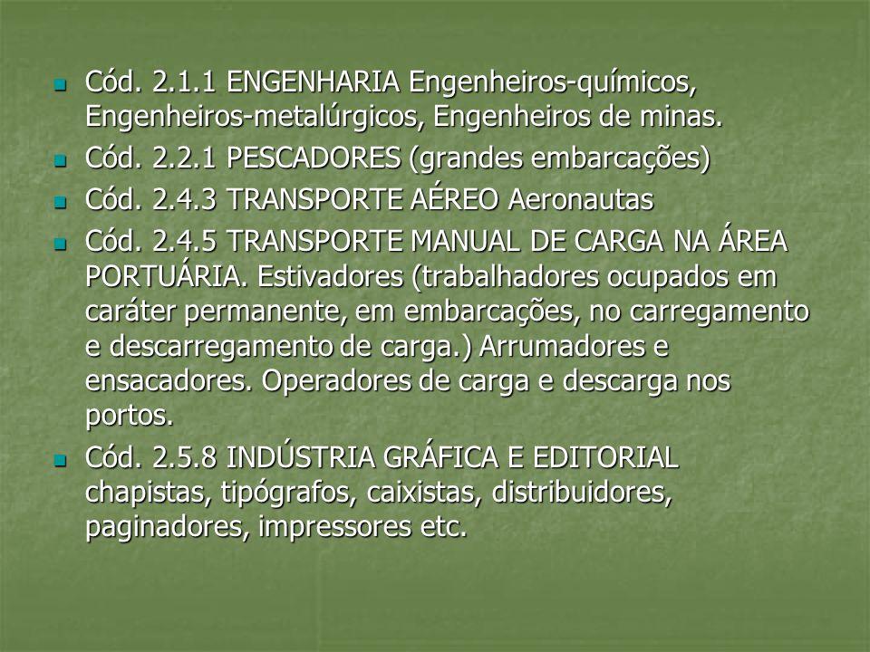 Cód. 2.1.1 ENGENHARIA Engenheiros-químicos, Engenheiros-metalúrgicos, Engenheiros de minas.