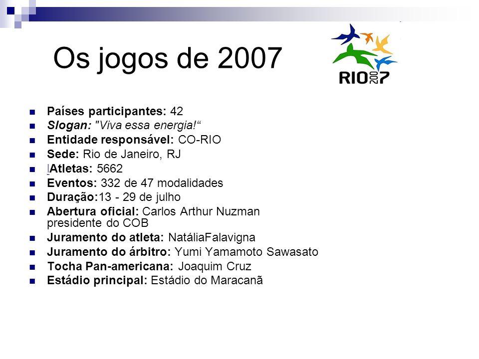 Os jogos de 2007 Países participantes: 42 Slogan: Viva essa energia!