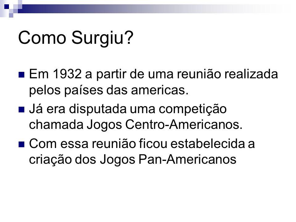 Como Surgiu Em 1932 a partir de uma reunião realizada pelos países das americas. Já era disputada uma competição chamada Jogos Centro-Americanos.