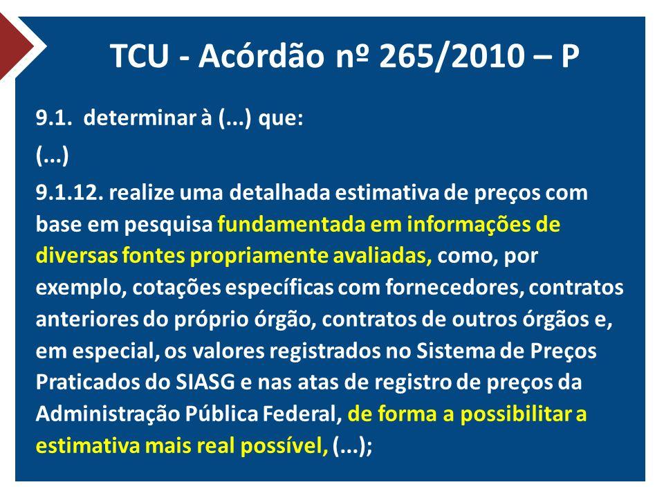TCU - Acórdão nº 265/2010 – P