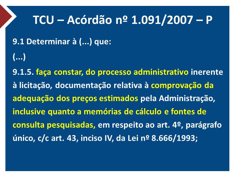 TCU – Acórdão nº 1.091/2007 – P