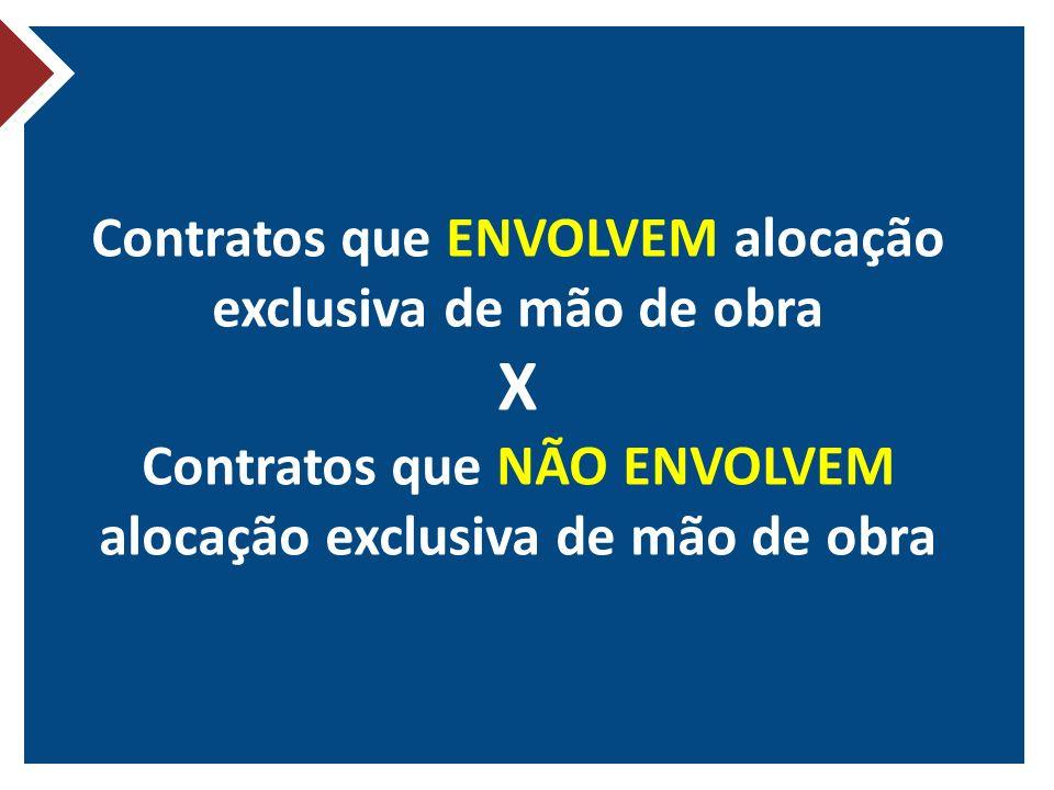 Contratos que ENVOLVEM alocação exclusiva de mão de obra X Contratos que NÃO ENVOLVEM alocação exclusiva de mão de obra