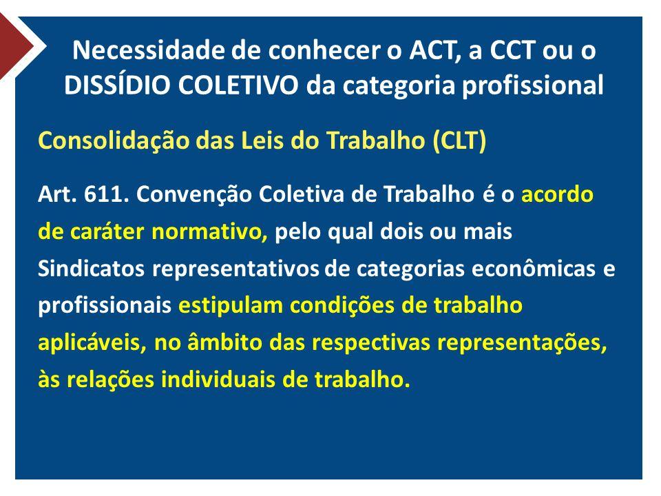 Necessidade de conhecer o ACT, a CCT ou o DISSÍDIO COLETIVO da categoria profissional