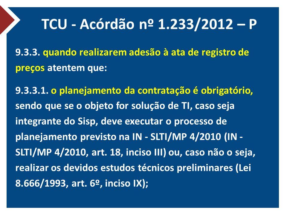 TCU - Acórdão nº 1.233/2012 – P