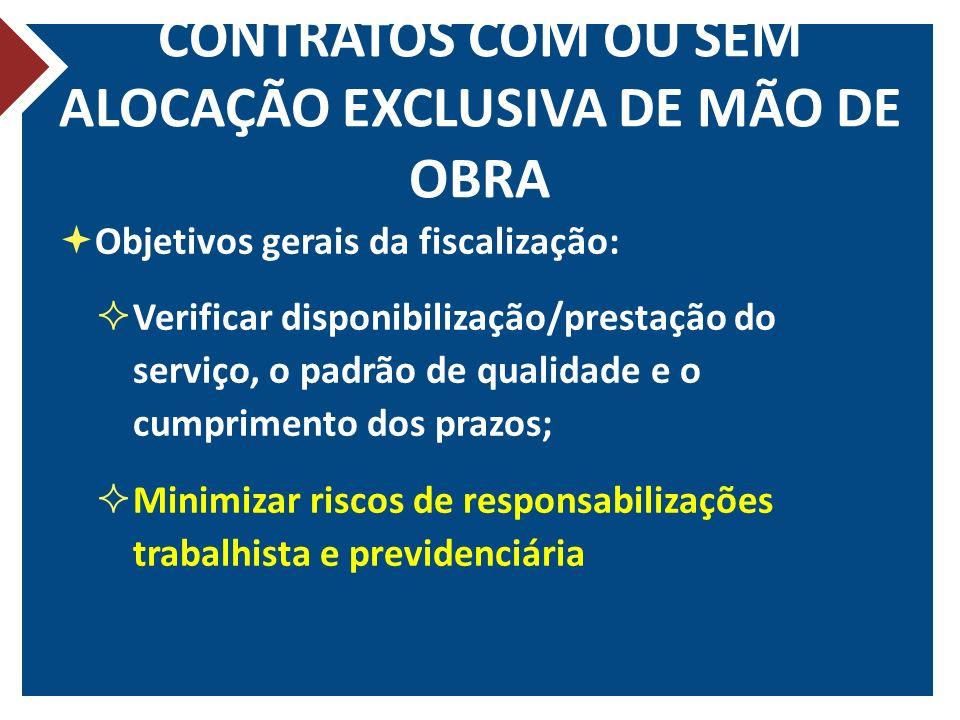 CONTRATOS COM OU SEM ALOCAÇÃO EXCLUSIVA DE MÃO DE OBRA