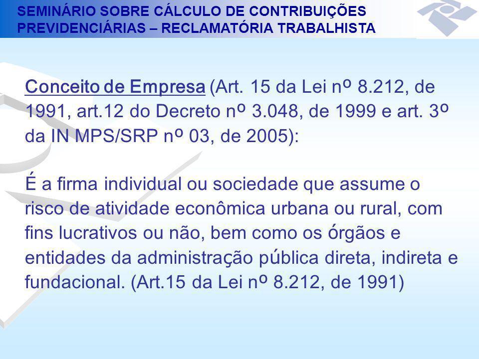Conceito de Empresa (Art. 15 da Lei nº 8. 212, de 1991, art