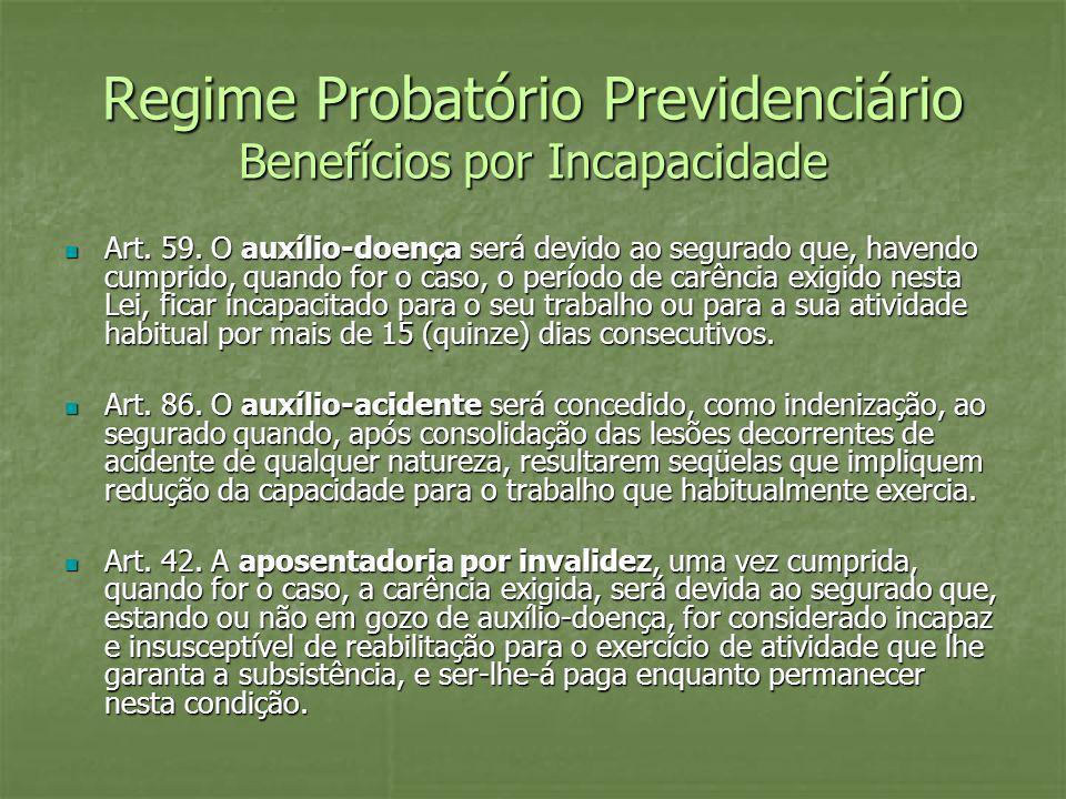 Regime Probatório Previdenciário Benefícios por Incapacidade