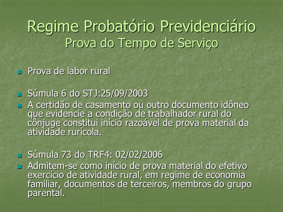 Regime Probatório Previdenciário Prova do Tempo de Serviço