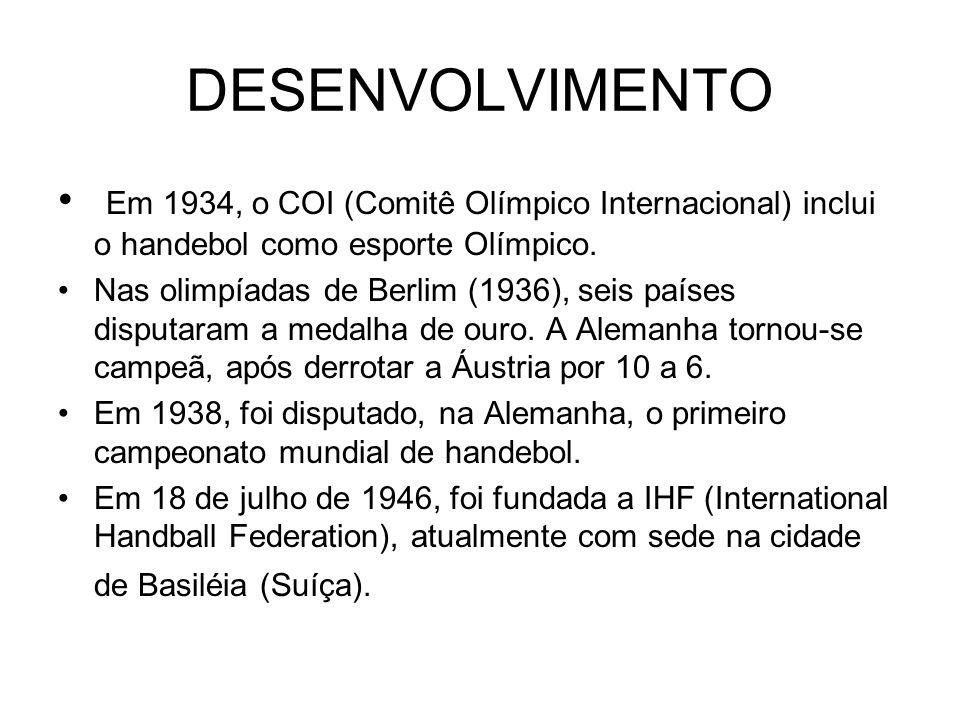 DESENVOLVIMENTO Em 1934, o COI (Comitê Olímpico Internacional) inclui o handebol como esporte Olímpico.