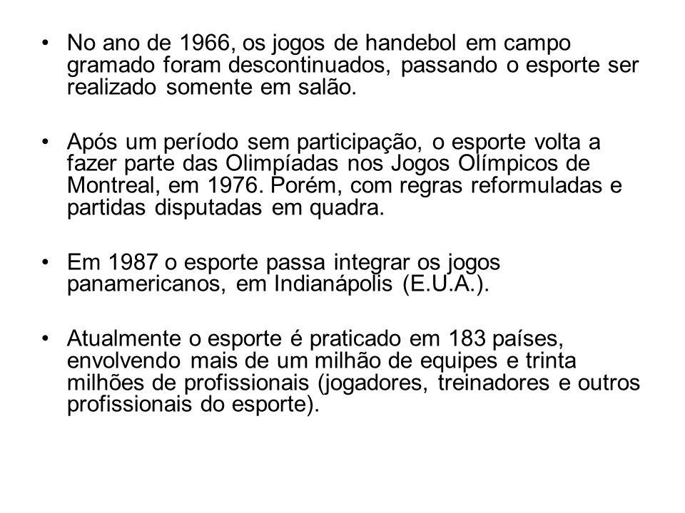 No ano de 1966, os jogos de handebol em campo gramado foram descontinuados, passando o esporte ser realizado somente em salão.