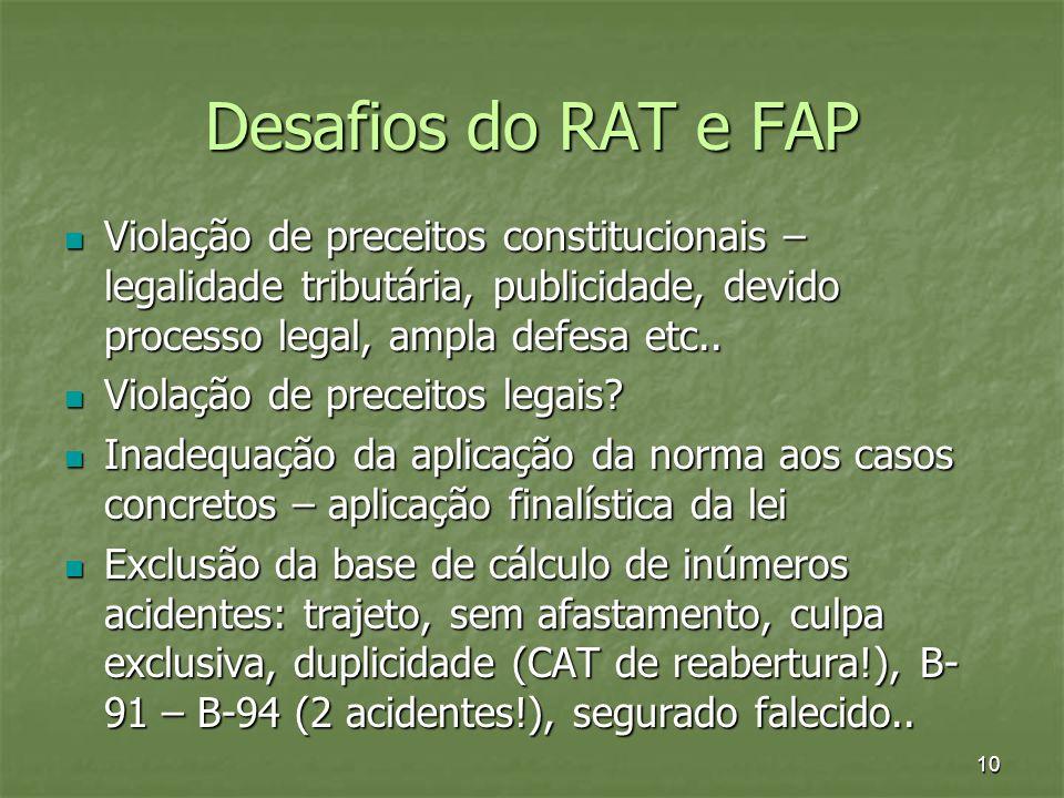 Desafios do RAT e FAP Violação de preceitos constitucionais – legalidade tributária, publicidade, devido processo legal, ampla defesa etc..