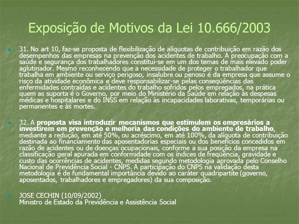 Exposição de Motivos da Lei 10.666/2003