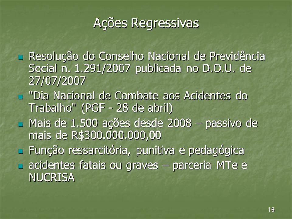 Ações Regressivas Resolução do Conselho Nacional de Previdência Social n. 1.291/2007 publicada no D.O.U. de 27/07/2007.