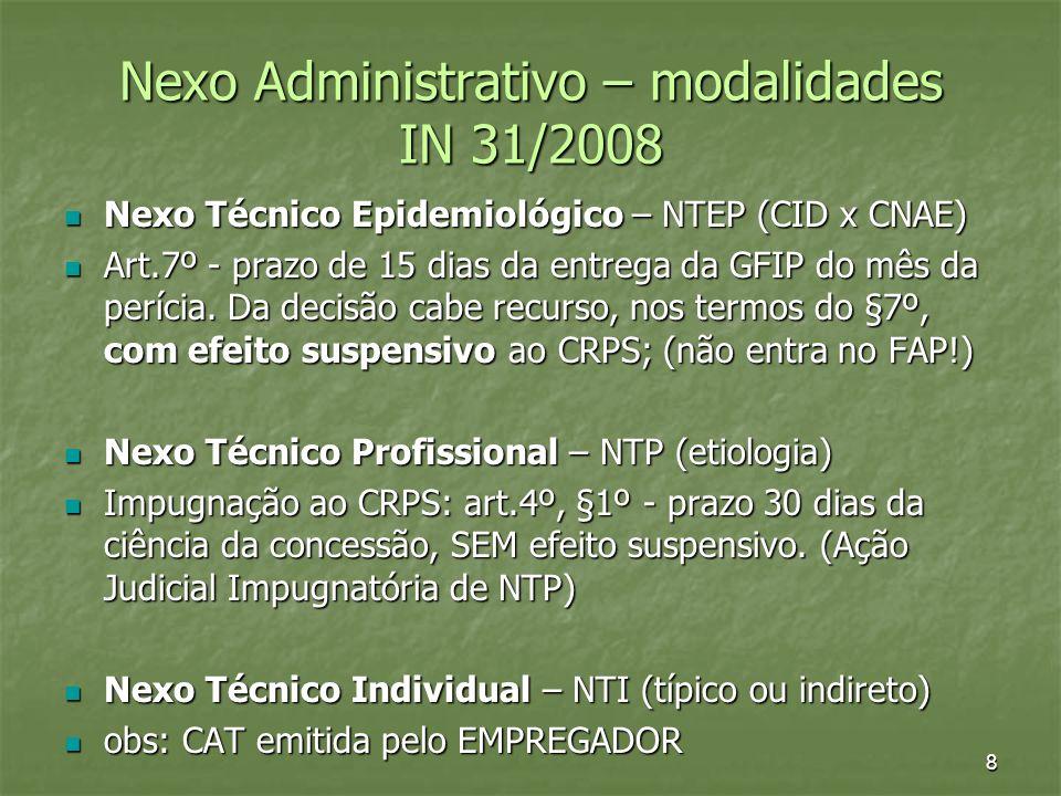 Nexo Administrativo – modalidades IN 31/2008