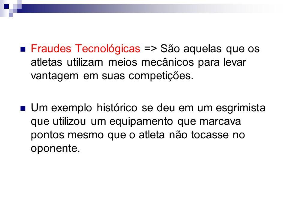 Fraudes Tecnológicas => São aquelas que os atletas utilizam meios mecânicos para levar vantagem em suas competições.