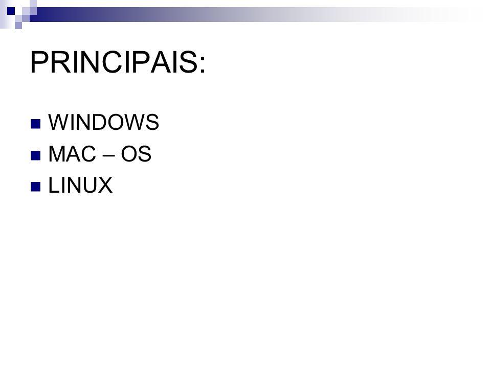 PRINCIPAIS: WINDOWS MAC – OS LINUX