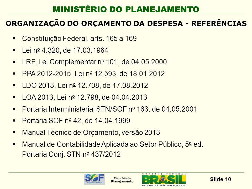 ORGANIZAÇÃO DO ORÇAMENTO DA DESPESA - REFERÊNCIAS