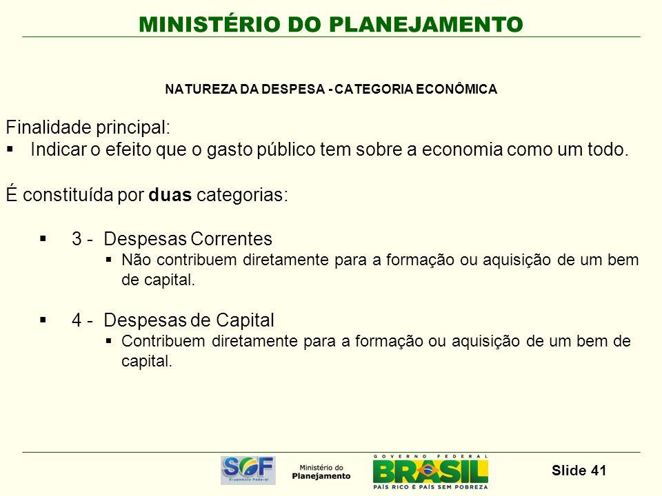 NATUREZA DA DESPESA - CATEGORIA ECONÔMICA