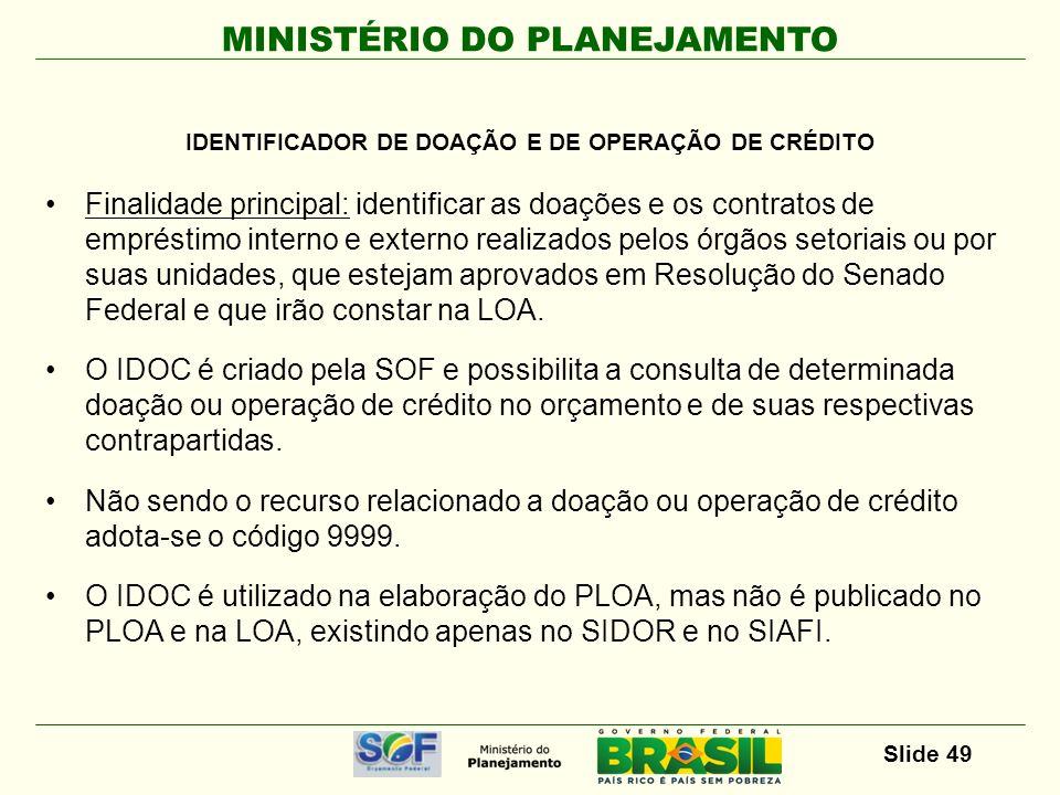 IDENTIFICADOR DE DOAÇÃO E DE OPERAÇÃO DE CRÉDITO