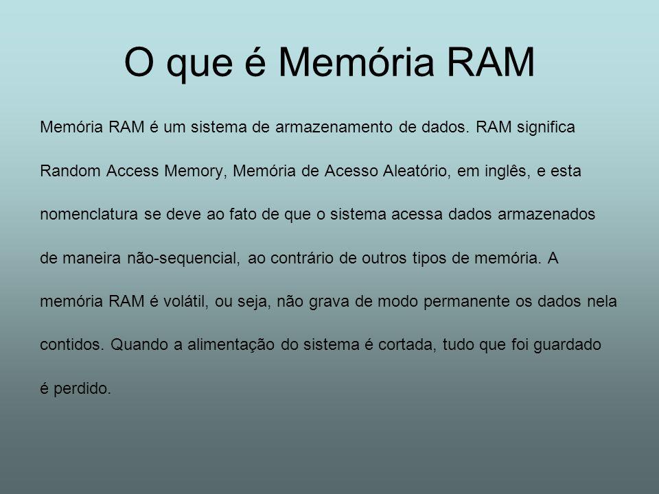O que é Memória RAM Memória RAM é um sistema de armazenamento de dados. RAM significa.