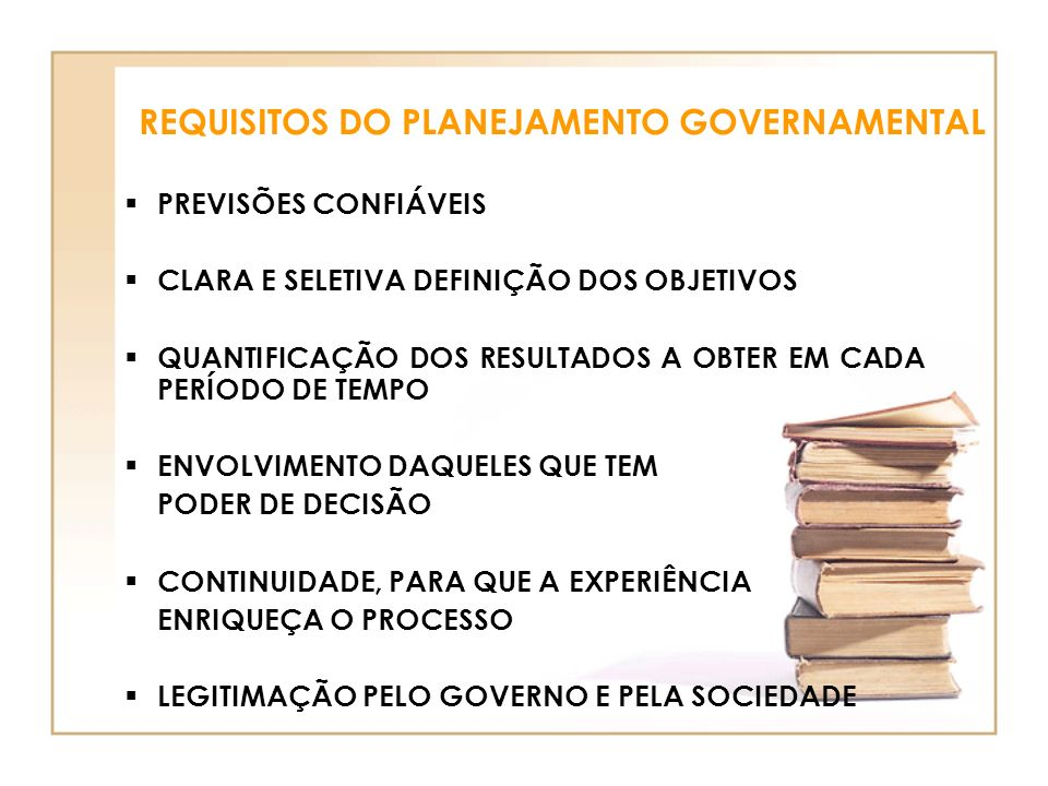 REQUISITOS DO PLANEJAMENTO GOVERNAMENTAL