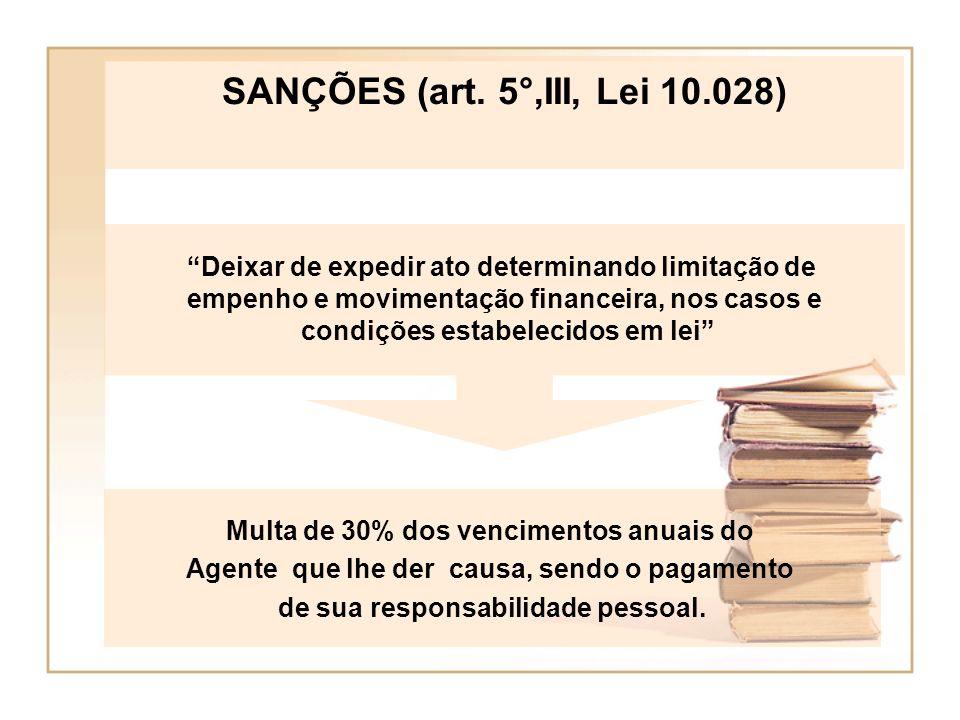 SANÇÕES (art. 5°,III, Lei 10.028) Deixar de expedir ato determinando limitação de. empenho e movimentação financeira, nos casos e.