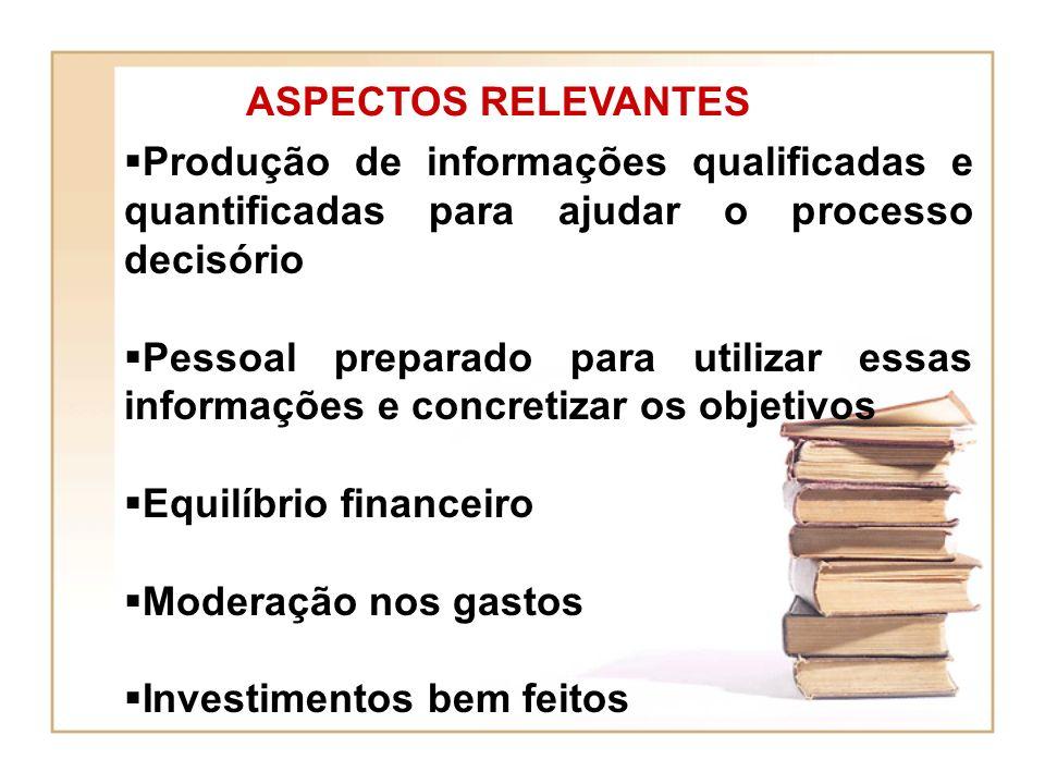 ASPECTOS RELEVANTES Produção de informações qualificadas e quantificadas para ajudar o processo decisório.