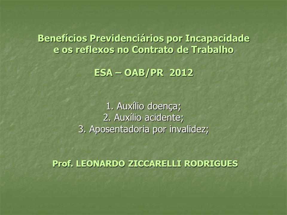 Benefícios Previdenciários por Incapacidade e os reflexos no Contrato de Trabalho ESA – OAB/PR 2012 1.
