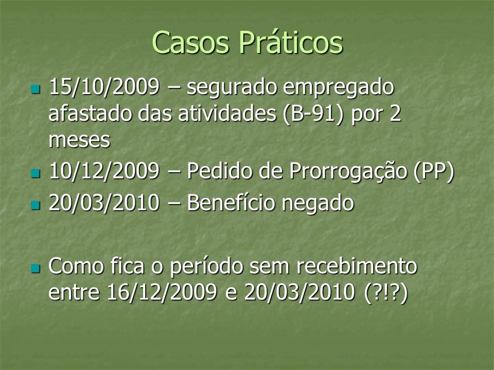 Casos Práticos 15/10/2009 – segurado empregado afastado das atividades (B-91) por 2 meses. 10/12/2009 – Pedido de Prorrogação (PP)