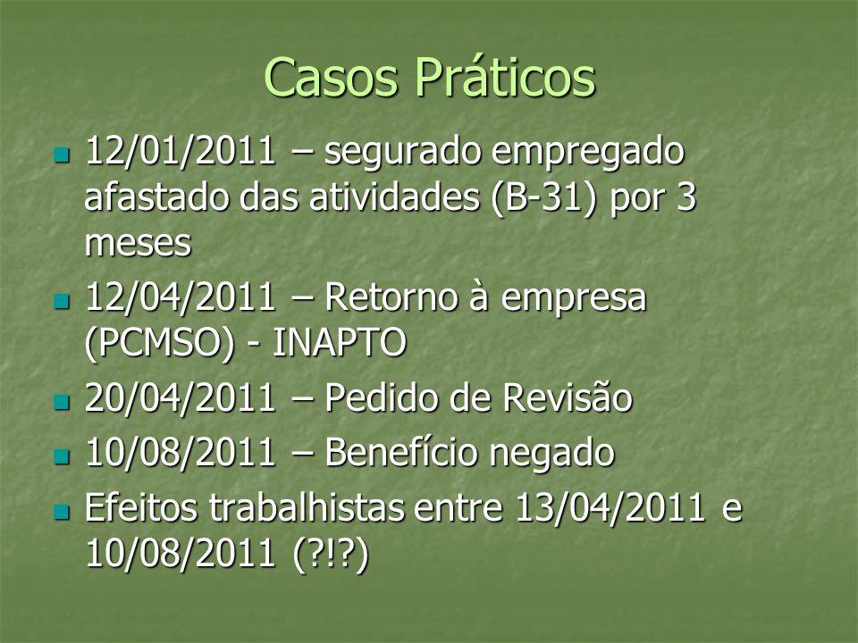 Casos Práticos 12/01/2011 – segurado empregado afastado das atividades (B-31) por 3 meses. 12/04/2011 – Retorno à empresa (PCMSO) - INAPTO.