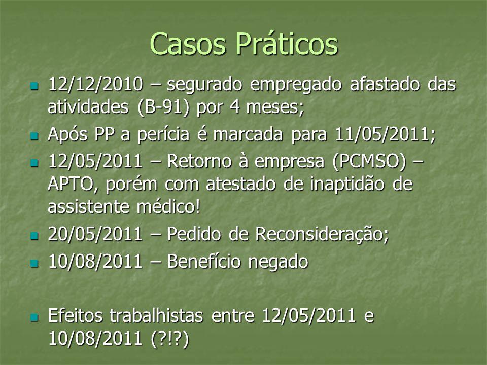 Casos Práticos 12/12/2010 – segurado empregado afastado das atividades (B-91) por 4 meses; Após PP a perícia é marcada para 11/05/2011;