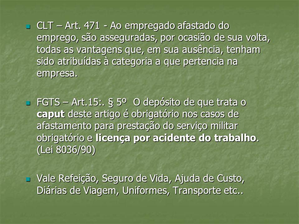 CLT – Art. 471 - Ao empregado afastado do emprego, são asseguradas, por ocasião de sua volta, todas as vantagens que, em sua ausência, tenham sido atribuídas à categoria a que pertencia na empresa.