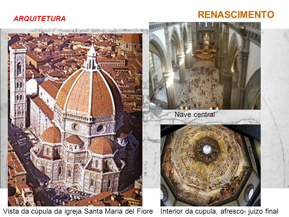 ARQUITETURA Nave central. Vista da cúpula da igreja Santa Maria del Fiore.