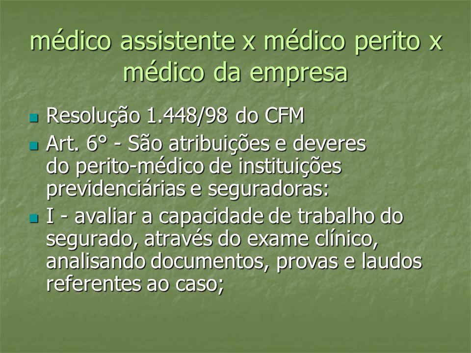 médico assistente x médico perito x médico da empresa