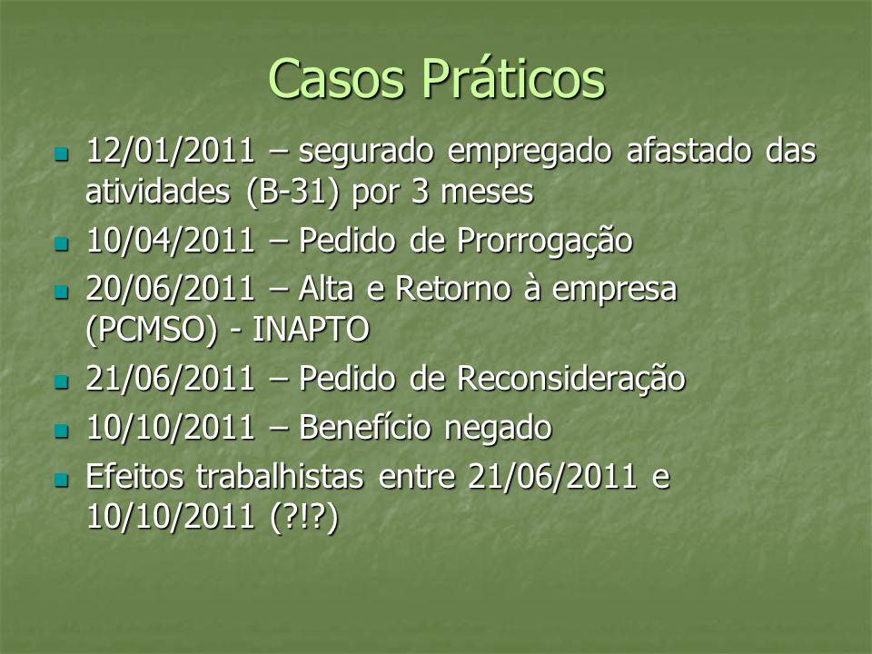 Casos Práticos 12/01/2011 – segurado empregado afastado das atividades (B-31) por 3 meses. 10/04/2011 – Pedido de Prorrogação.