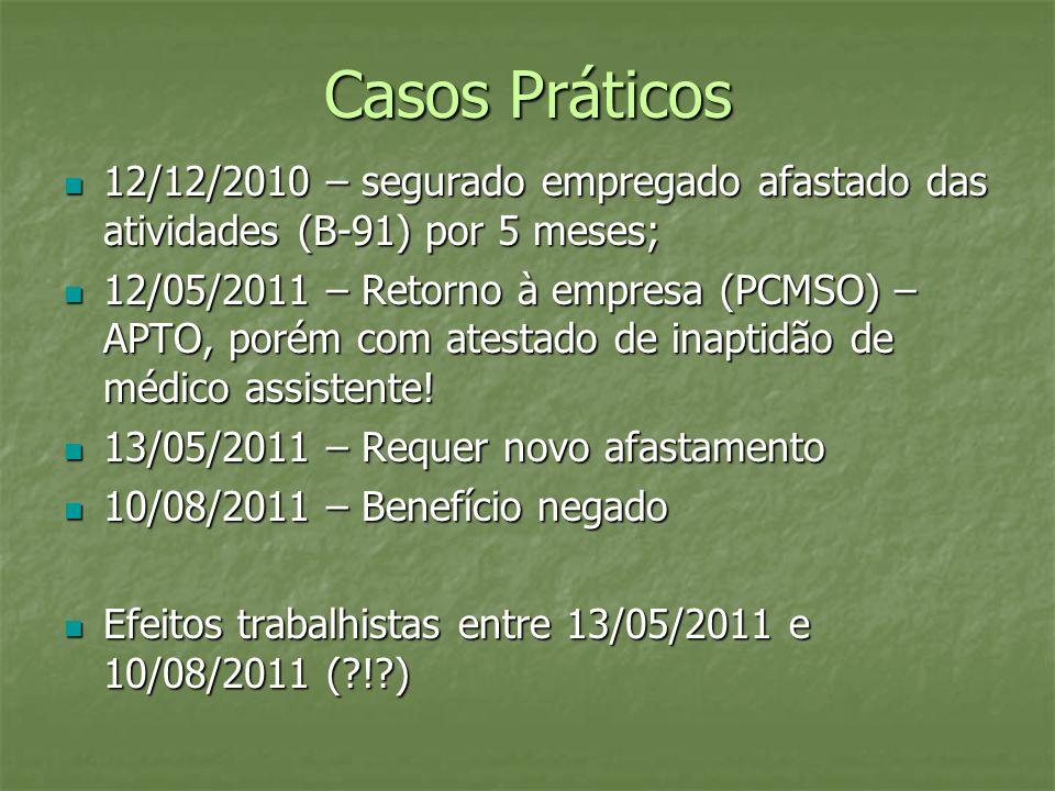 Casos Práticos 12/12/2010 – segurado empregado afastado das atividades (B-91) por 5 meses;