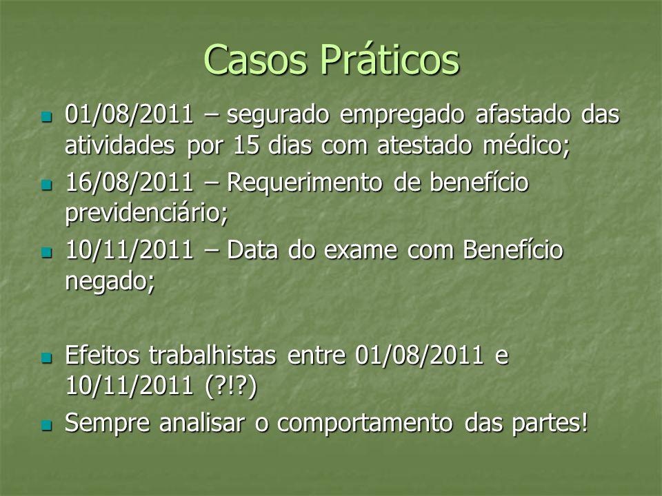 Casos Práticos 01/08/2011 – segurado empregado afastado das atividades por 15 dias com atestado médico;