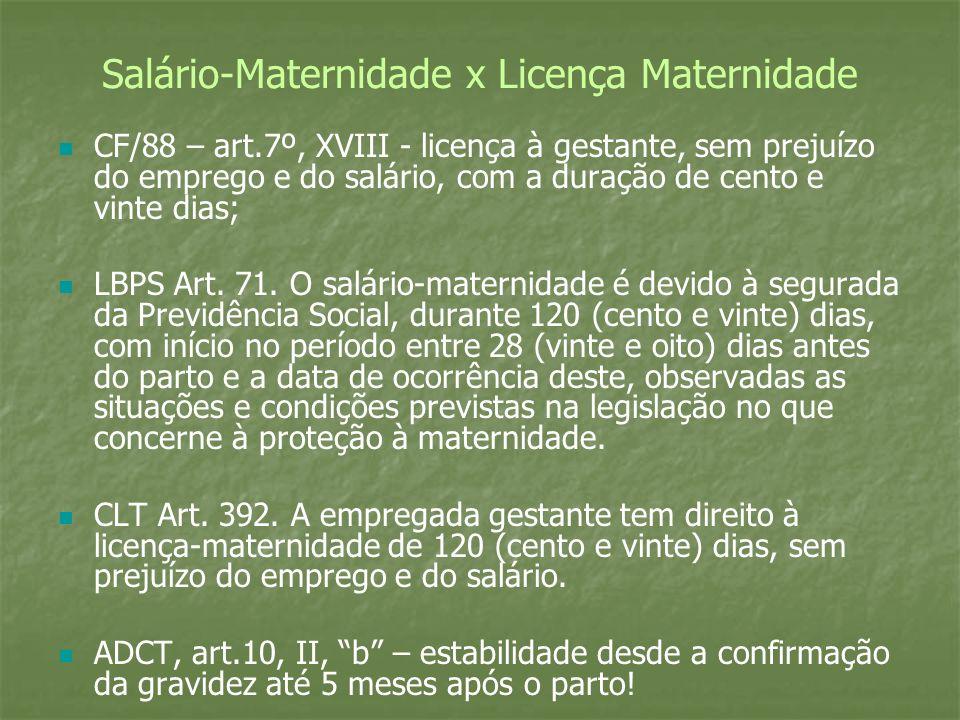 Salário-Maternidade x Licença Maternidade