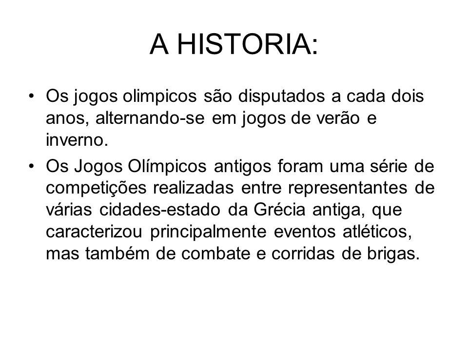 A HISTORIA:Os jogos olimpicos são disputados a cada dois anos, alternando-se em jogos de verão e inverno.