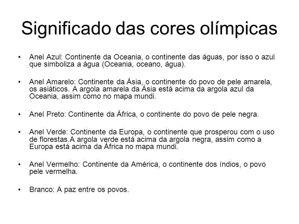 Significado das cores olímpicas