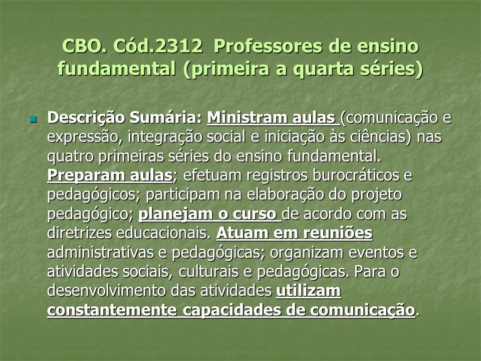 CBO. Cód.2312 Professores de ensino fundamental (primeira a quarta séries)