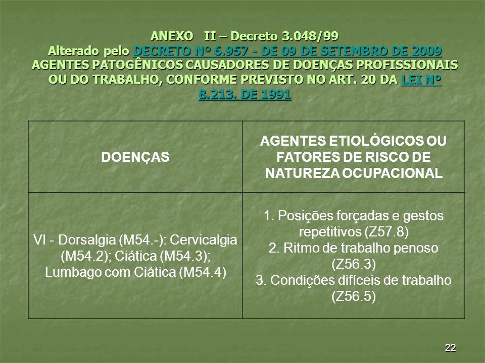 AGENTES ETIOLÓGICOS OU FATORES DE RISCO DE NATUREZA OCUPACIONAL