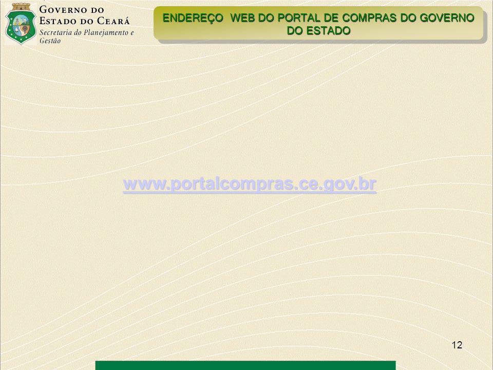 ENDEREÇO WEB DO PORTAL DE COMPRAS DO GOVERNO DO ESTADO