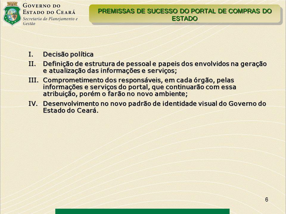 PREMISSAS DE SUCESSO DO PORTAL DE COMPRAS DO ESTADO