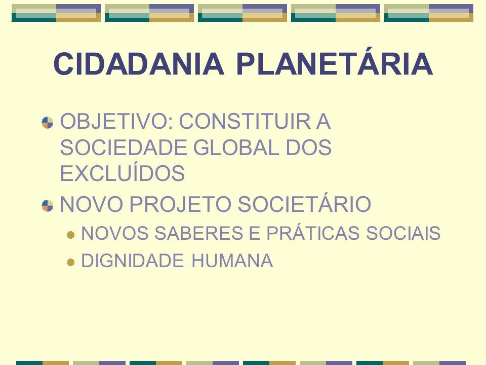 CIDADANIA PLANETÁRIAOBJETIVO: CONSTITUIR A SOCIEDADE GLOBAL DOS EXCLUÍDOS. NOVO PROJETO SOCIETÁRIO.