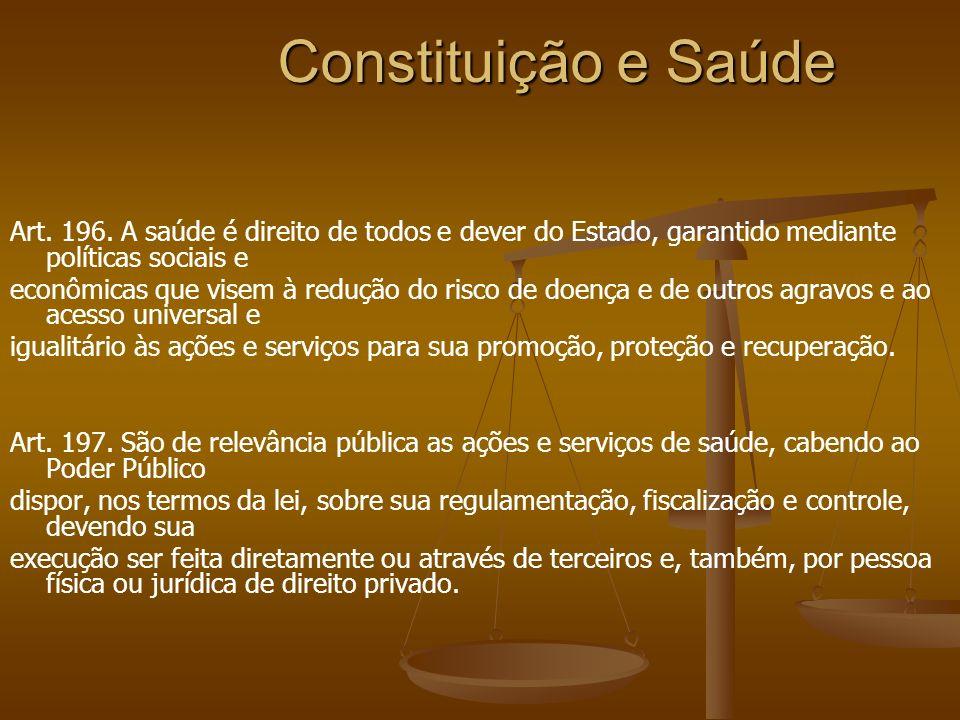 Constituição e Saúde Art. 196. A saúde é direito de todos e dever do Estado, garantido mediante políticas sociais e.