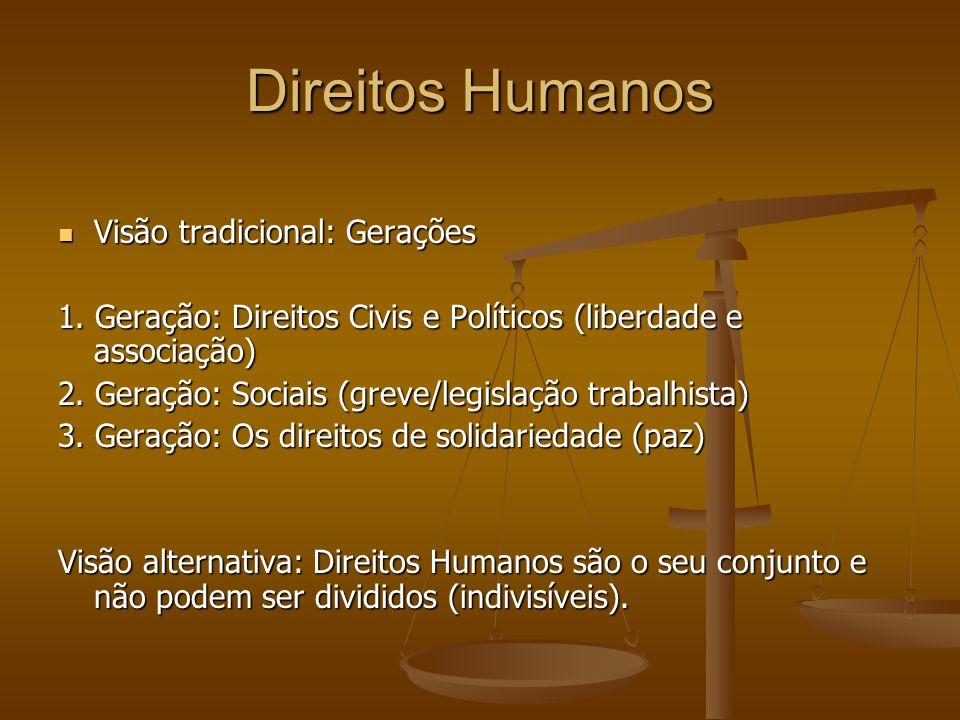 Direitos Humanos Visão tradicional: Gerações