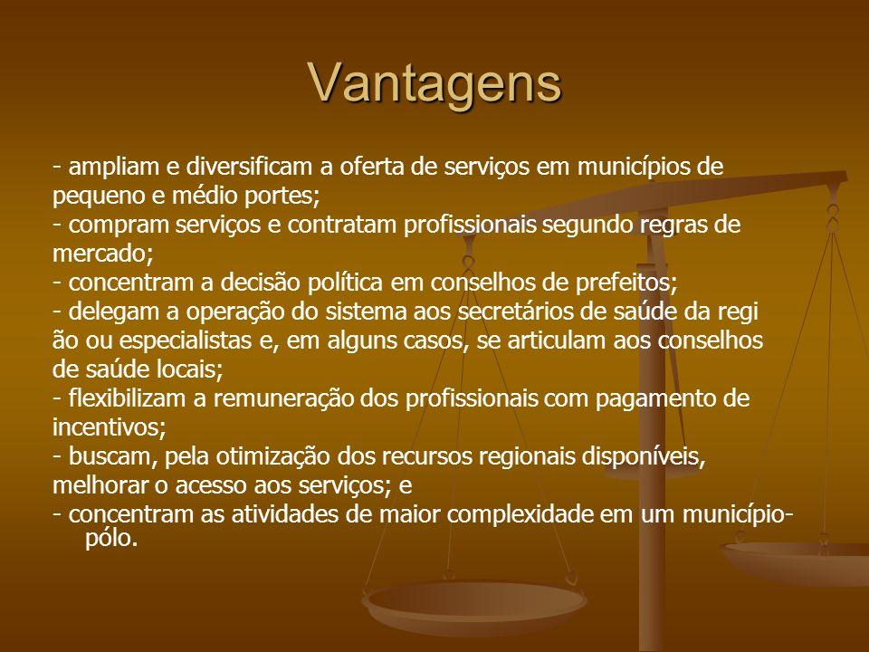 Vantagens- ampliam e diversificam a oferta de serviços em municípios de. pequeno e médio portes;