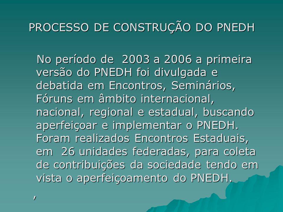 PROCESSO DE CONSTRUÇÃO DO PNEDH