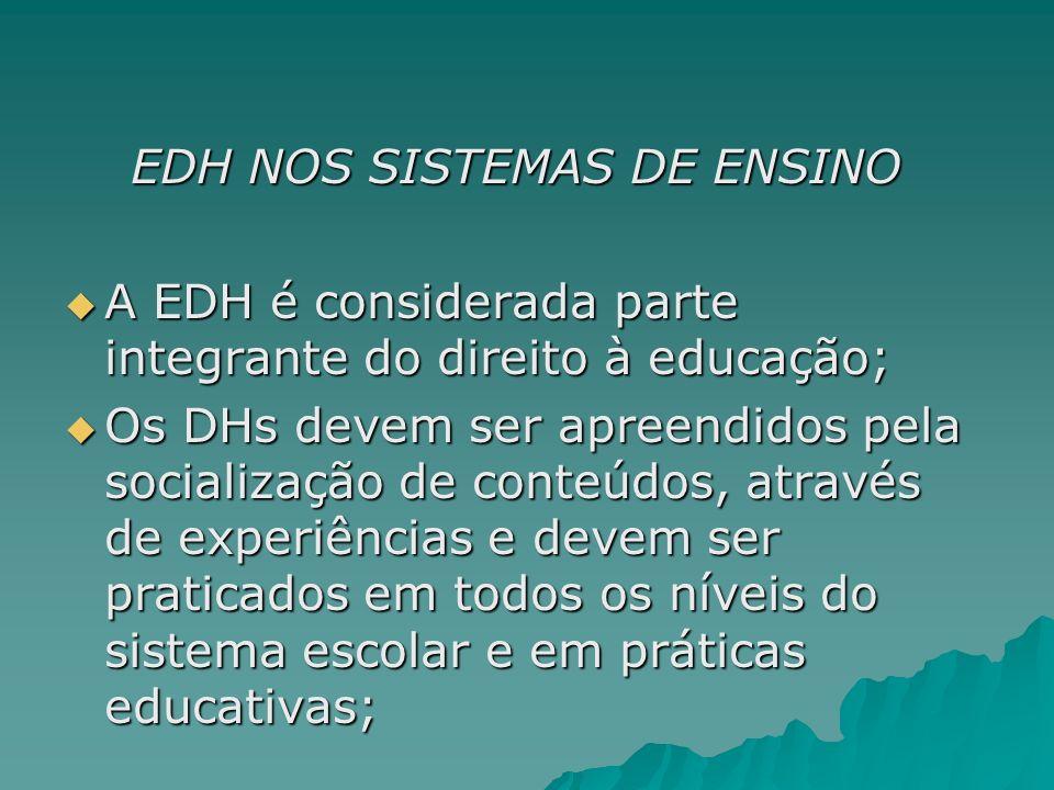 EDH NOS SISTEMAS DE ENSINO